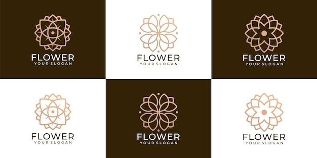 Set of creative minimalist flower spa beauty and boutique