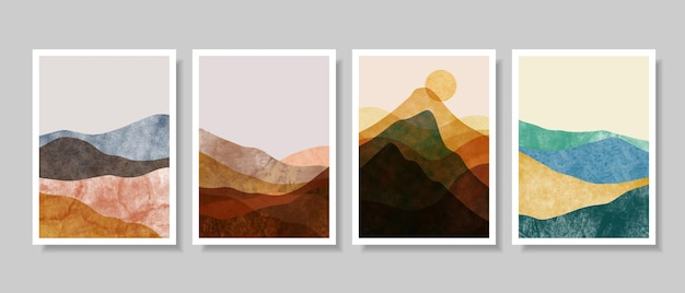 Set of creative minimalist hand painted. abstract arts background.