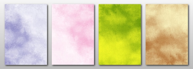 Set of creative minimalist hand painted. abstract watercolor background.