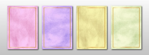 Set of creative minimalist hand painted abstract watercolor background