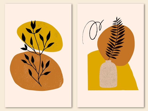 Set of creative minimalist hand painted cover with tropical leaf and abstract shapes