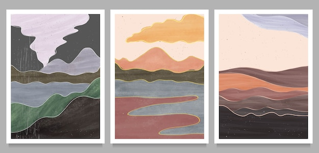 Set of creative minimalist hand painted illustrations of mid century modern.