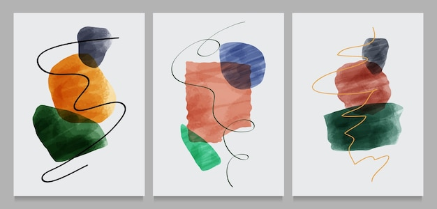 Set of creative minimalist hand painted illustrations