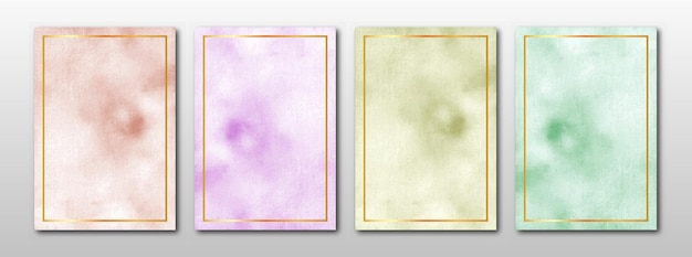 Set of creative minimalist hand painted watercolor background