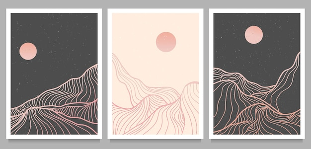 Set of creative minimalist modern illustrations in lineal style