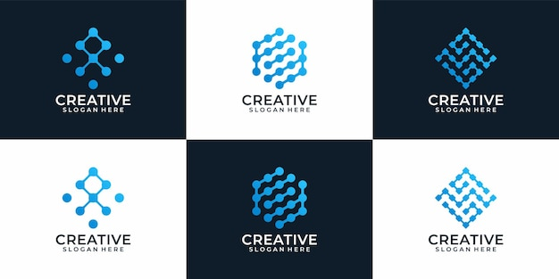 Set of creative modern abstract technology logo design for business company