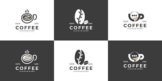 Set of creative modern coffee cup with beans logo design vector template