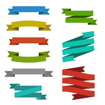 Set of creative modern ribbon banner label tag web element templates