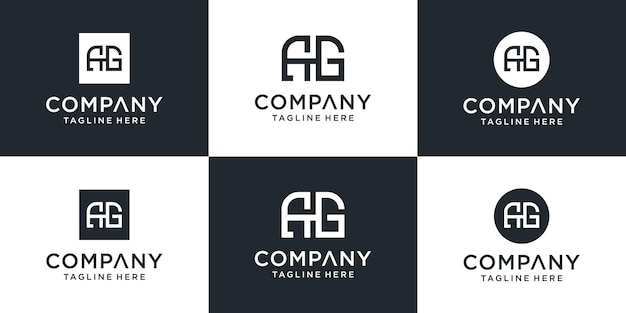 Set of creative monogram ag logo template. the logo can be used for business and building company.