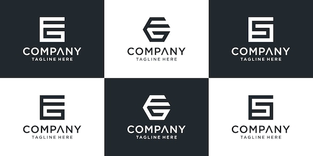 Set of creative monogram eg logo template. the logo can be used for business and building company.