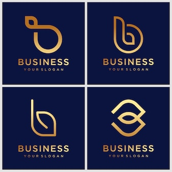 Set of creative monogram golden letter b logo design template