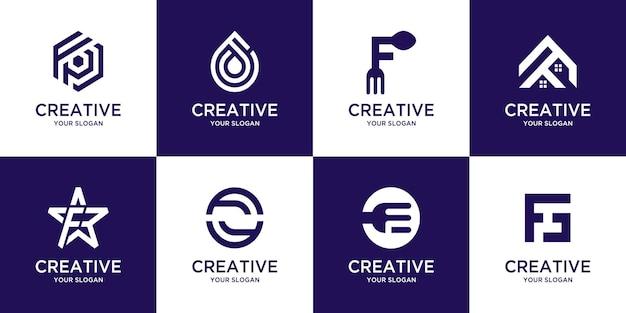Set of creative monogram initial letter f logo template