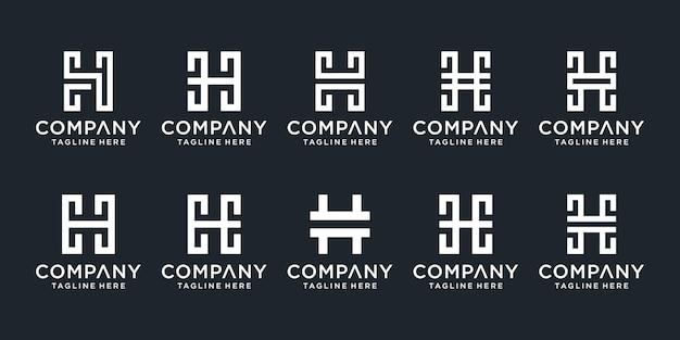 Set of creative monogram initial letter h logo template