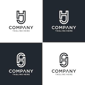 Set of creative monogram initial letter hj logo template