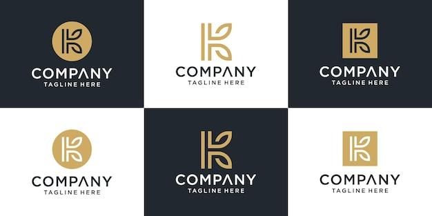Set of creative monogram initial letter k leaf logo template