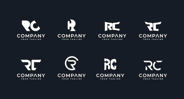Set of creative monogram initial letter rc logo template premium vector