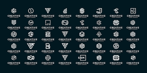 Set of creative monogram letter abstract logo design template.