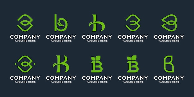 Set of creative monogram letter b logo design inspiration