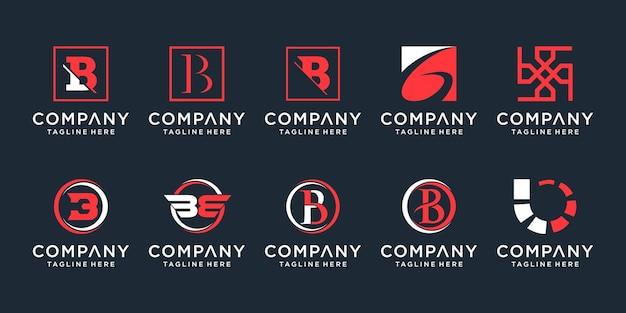 Set of creative monogram letter b logo design template icons for business of elegant simple
