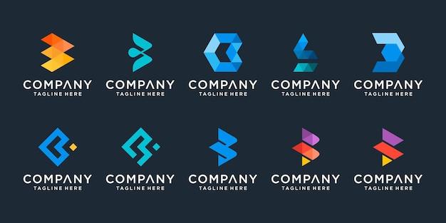 Set of creative monogram letter b logo design template icons for business of technology digital