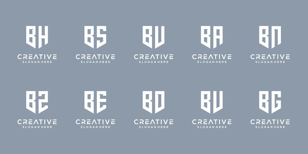 Set of creative monogram letter b logo design template