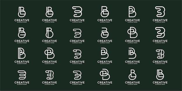 Set of creative monogram letter b logo design