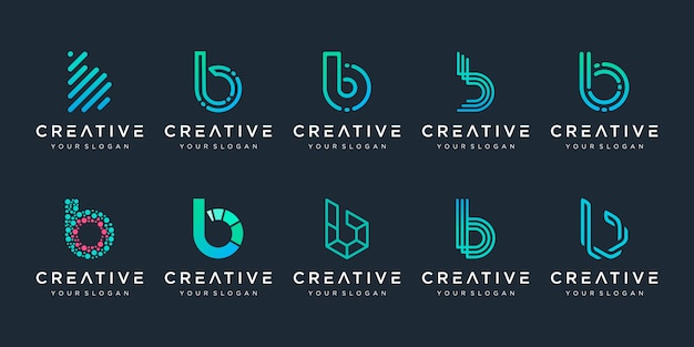 Set of creative monogram letter b logo  template. the logo can be used for building and technology digital company.