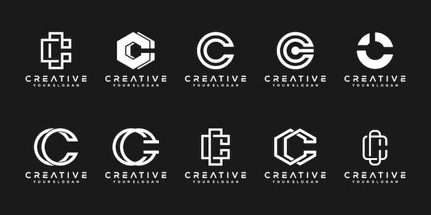 Set of creative monogram letter c logo design template.