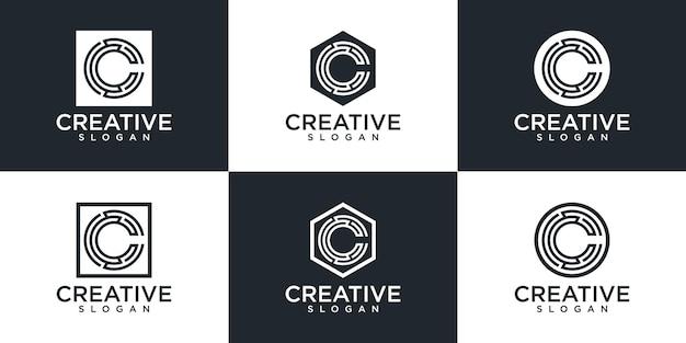 Set of creative monogram letter c logo design
