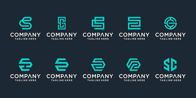 Set of creative monogram letter cs logo template. the logo can be used for business and building company.