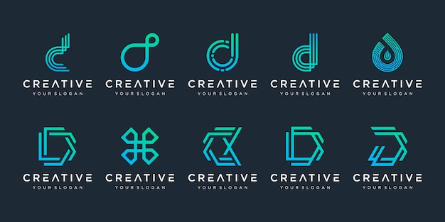 Set of creative monogram letter d logo design template. the logo can be used for technology, digital company. Premium Vector