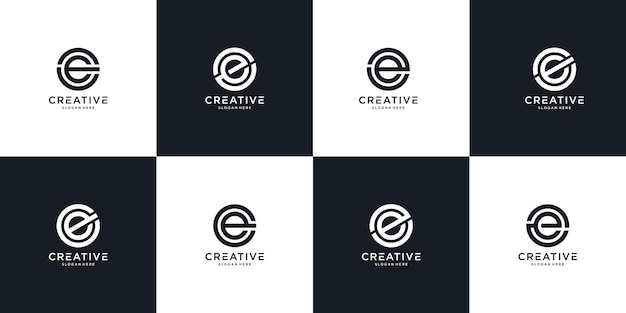 Set of creative monogram letter e logo design template. the logo can be used for building company.