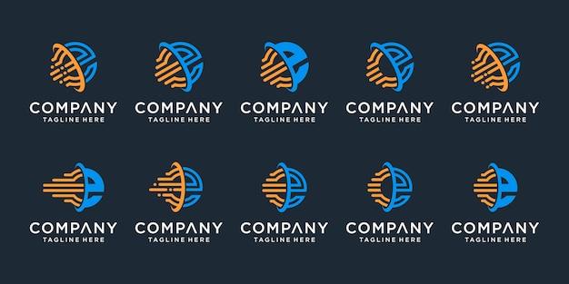 Set of creative monogram letter e logo design template.