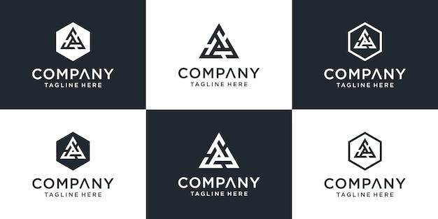Set of creative monogram letter fff or triple f logo design inspiration
