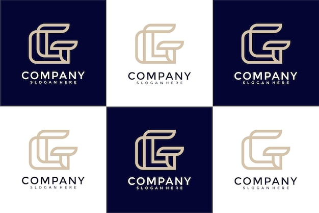 Set of creative monogram letter g logo design inspiration