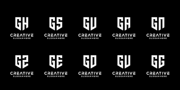 Set of creative monogram letter g logo design template