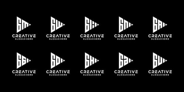 Set of creative monogram letter g logo design template