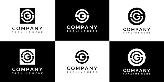 Set of creative monogram letter gg logo design