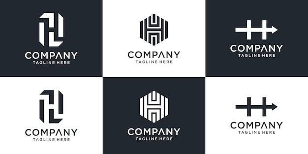 Set of creative monogram letter h logo template