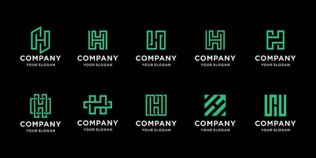 Set of creative monogram letter h logo template