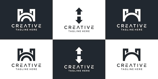 Set of creative monogram letter h logo.