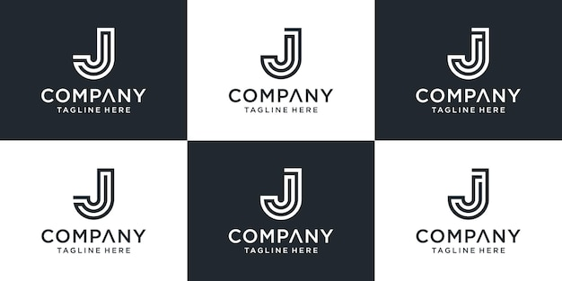 Set of creative monogram letter j logo design inspiration