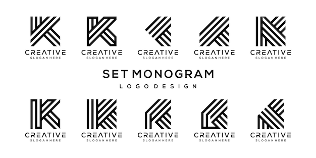 Set of creative monogram letter k logo design template.
