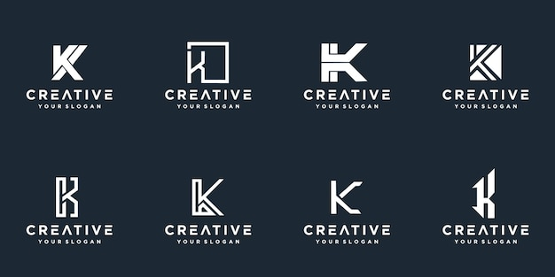 Set of creative monogram letter k logo.