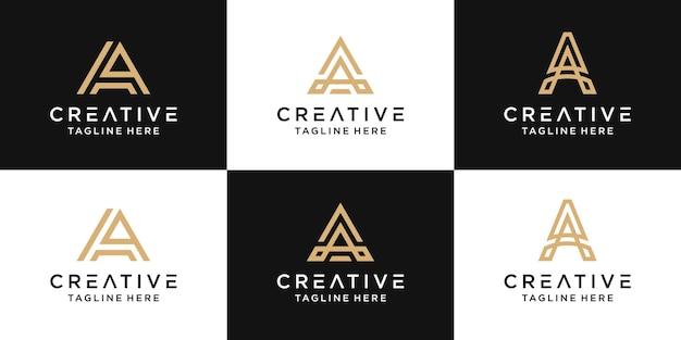 Set of creative monogram letter a logo abstract design inspiration
