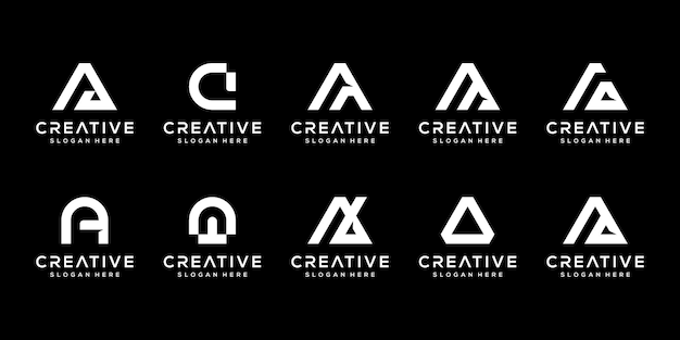 Set of creative monogram letter a logo design template. the logo can be used for building company.