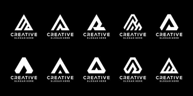 Set of creative monogram letter a logo design template.