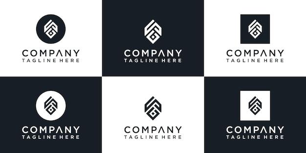 Set of creative monogram letter a logo design