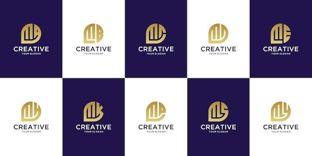 Set of creative monogram letter m logo template