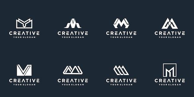 Set of creative monogram letter m logo template.